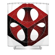 Geometric Subtraction Of Cube And Sphere  Shower Curtain