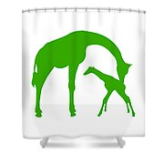 Giraffe In Green And White Shower Curtain