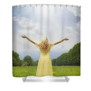 Girl On Meadow Shower Curtain