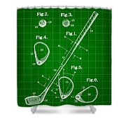 Golf Club Patent 1909 - Green Shower Curtain