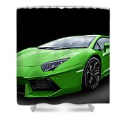 Green Aventador Shower Curtain