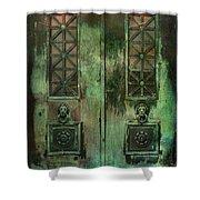 Green Doors Shower Curtain