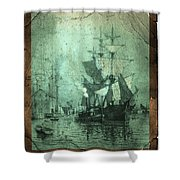 Grungy Historic Seaport Schooner Shower Curtain