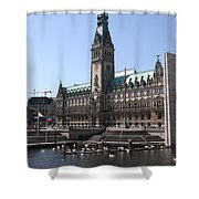 Hamburg - City Hall With Fleet - Germany Shower Curtain