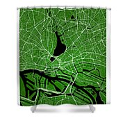 Hamburg Street Map - Hamburg Germany Road Map Art On Colored Bac Shower Curtain