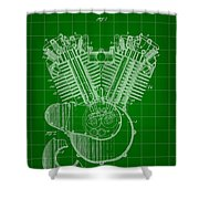 Harley Davidson Engine Patent 1919 - Green Shower Curtain