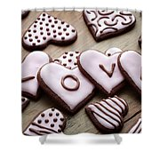 Heart Cookies Shower Curtain
