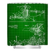 Helicopter Patent 1940 - Green Shower Curtain