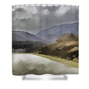 Highway Running Through The Wilderness Of The Scottish Highlands Shower Curtain