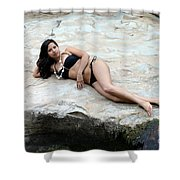Hispanic Woman Waterfall Shower Curtain