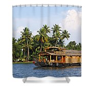 Houseboats On The Kerala Backwaters Shower Curtain