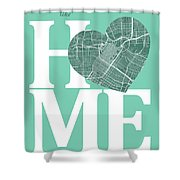 Houston Street Map Home Heart - Houston Texas Road Map In A Hear Shower Curtain