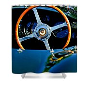 Jaguar Steering Wheel Shower Curtain