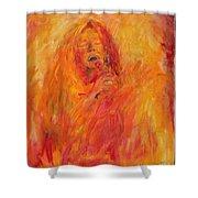 Janis Joplin On Fire Shower Curtain