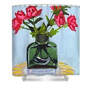 Jeff's Vase And Rodger's Roses Shower Curtain