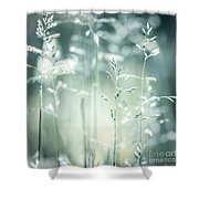 June Green Grass Flowering Shower Curtain