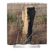 Kansas Country Limestone Fence Post Close Up With Grass Shower Curtain