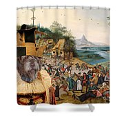 Korthals Pointing Griffon Art Canvas Print Shower Curtain