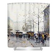 La Madeleine Paris Shower Curtain by Eugene Galien-Laloue