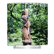 Lady At The Fountain Shower Curtain