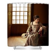 Lady In 16th Century Clothing With A Mandolin Shower Curtain