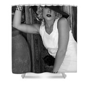 Lady In White Bw Shower Curtain