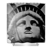Lady Liberty In Black And White Shower Curtain
