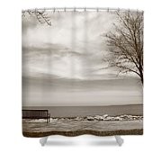 Lake And Park Bench Shower Curtain