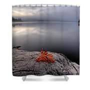 Lake In Autumn Sunrise Reflection Shower Curtain