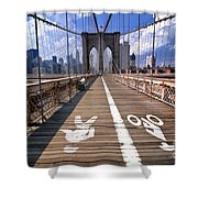 Lanes For Pedestrian And Bicycle Traffic On The Brooklyn Bridge Shower Curtain