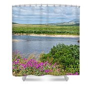 2-lay Of The Land-grizzly Bears In Moraine River In Katmai Np-ak Shower Curtain