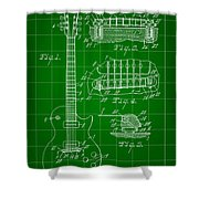 Les Paul Guitar Patent 1953 - Green Shower Curtain