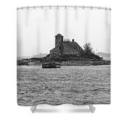Lighthouse Island - Portland Maine Shower Curtain