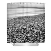 Little Stones At The Silver Sea Shower Curtain