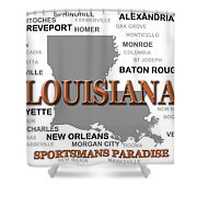 Louisiana State Pride Map Silhouette  Shower Curtain