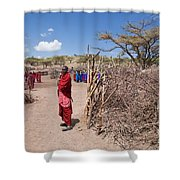 Maasai People And Their Village In Tanzania Shower Curtain