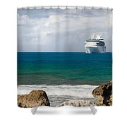 Majesty Of The Seas At Coco Cay Shower Curtain