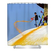 Man Throwing Orange Paint On Boudhanath Stupa Shower Curtain