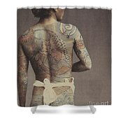 Man With Traditional Japanese Irezumi Tattoo Shower Curtain by Japanese Photographer