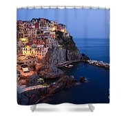 Manarola At Night In The Cinque Terre Italy Shower Curtain