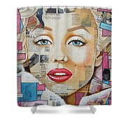 Marilyn In Pink And Blue Shower Curtain