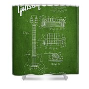 Mccarty Gibson Les Paul Guitar Patent Drawing From 1955 - Green Shower Curtain by Aged Pixel