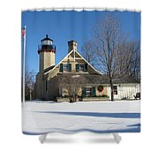 Mcgulpin Point Lighthouse In Winter Shower Curtain