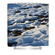 Melting Snow On Lawn Shower Curtain