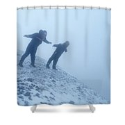 2 Men Leaning Against The Freezing Wind Shower Curtain