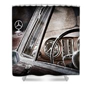 Mercedes-benz 250 Se Steering Wheel Emblem Shower Curtain