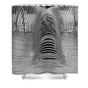 Metal Strips In Black And White Shower Curtain
