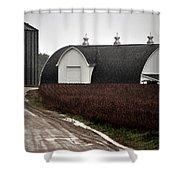 Michigan Barn With Grain Bins Rainy Day Usa Shower Curtain