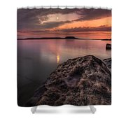 2 Mile Point Sunset And Moonrise Shower Curtain