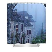 Misty Dawn In Saint Cirq Lapopie Shower Curtain
